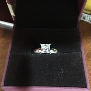 Jewelry - Diamonique 1.00 cttw Princess Ring, 14K White Gold